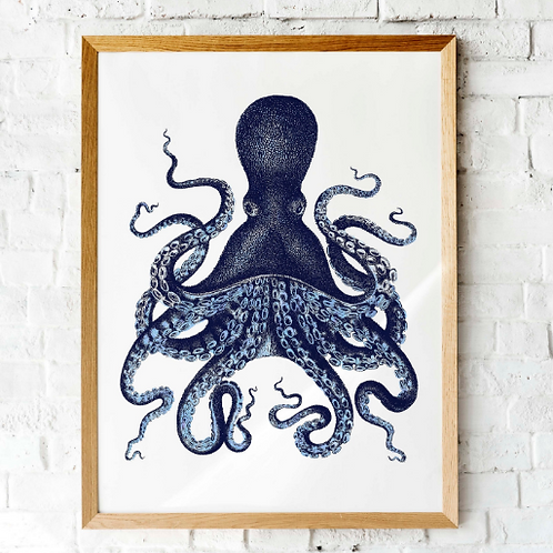 Octopus Kraken printable wall art | Ink blue nautical art