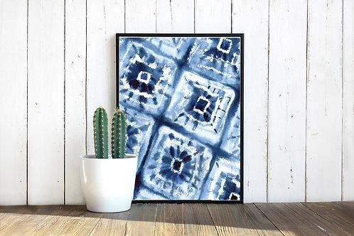 Blue indigo tie dye pattern printable art