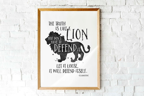 St Augustine quote The truth is a lion printable art watercolor