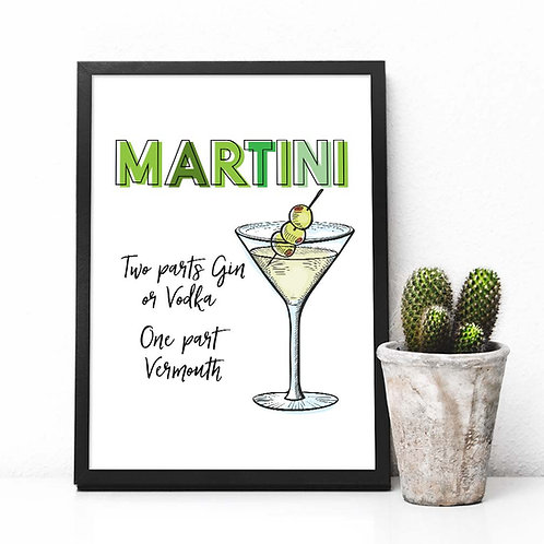 martini cocktail printable art