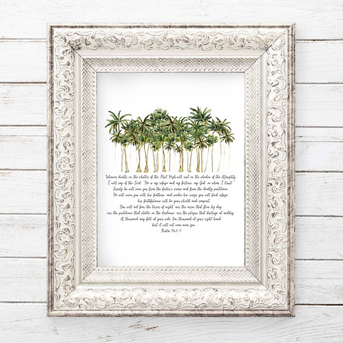 Psalm 91 palm trees watercolor printable art