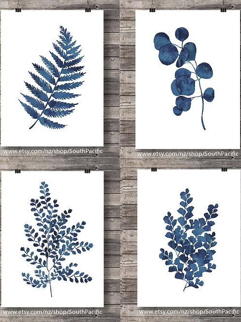 Watercolor botanical prints - set of four- watercolor blue indigo