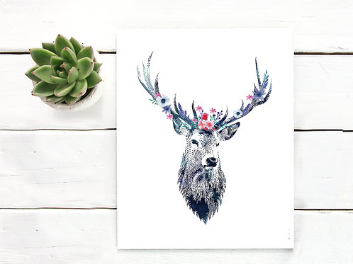 Watercolor deer stag with floral garland | flowers Printable art painting watercolor nature animals nursery decor