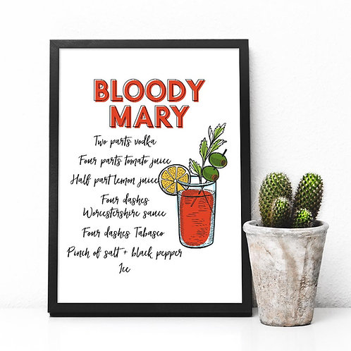 Bloody Mary recipe Cocktail art print, Printable Bar decor