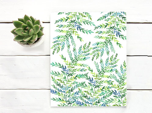 Watercolor green fern , artist poster prints,  Printable art