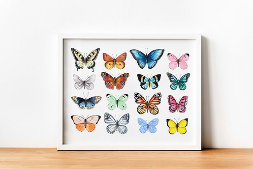 Butterfly chart | Watercolor Printable art