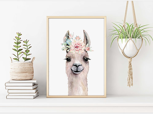 Alpaca, llama, watercolor, printable