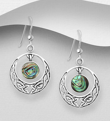 Sterling Silver Oxidized Circle Celtic Hook Earrings, Decorated with Dangling Sh