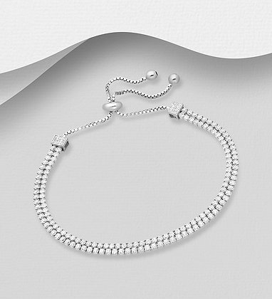 Sterling Silver Double Tennis Bracelet, Decorated with CZ Simulated Diamonds