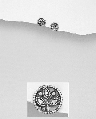 Sterling Silver Oxidized Push-Back Earrings Featuring Leaf
