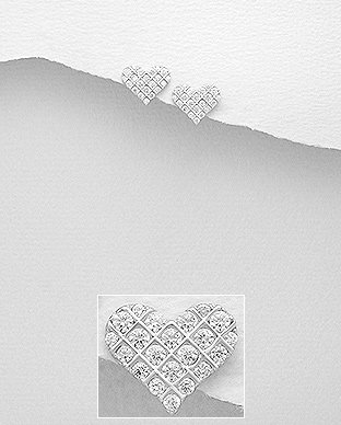 Sterling Silver Heart Earrings Decorated with CZ