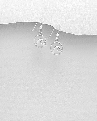 Sterling Silver Wave Hook Earrings