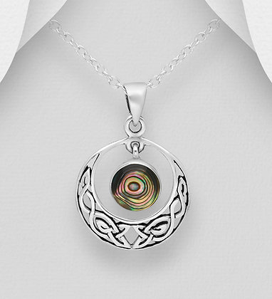 Sterling Silver Oxidized Circle Celtic Pendant, Decorated with Shell