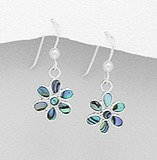 Silver Flower Hook Earrings Decorated With Shell