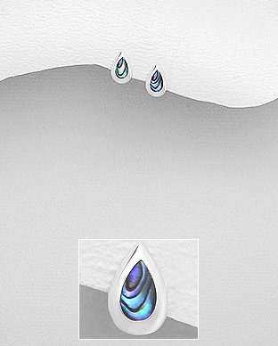 Sterling Silver Tear Drop Earrings Decorated With Shell