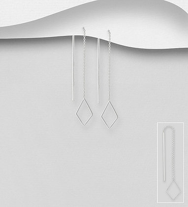 Sterling Silver Rhombus Threader Earrings