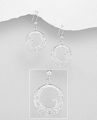 Sterling Silver Celtic Earrings Decorated with CZ Simulated Diamonds, Plated wit