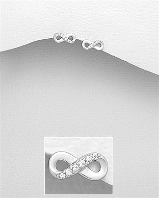 Sterling Silver Infinity Push-Back Earrings Decorated With CZ