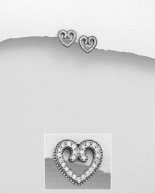Sterling Silver Oxidized Heart