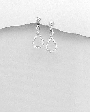 Sterling Silver Push-Back Earrings Decorated with CZ Simulated Diamonds