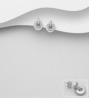 Sterling Silver Push-Back Earrings Decorated With CZ And Shell