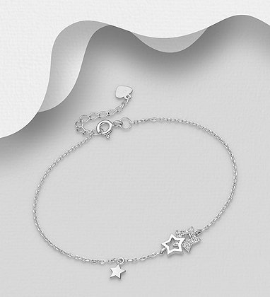 Sterling Silver Star Bracelet Decorated with CZ Simulated Diamonds