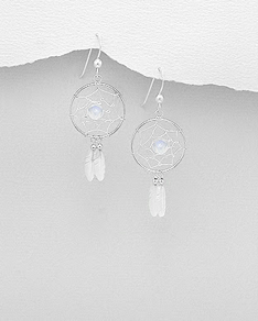 Sterling Silver Dream Catcher Hook Earrings, Decorated with Rainbow Moonstone