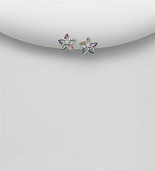 Sterling Silver Flower Earrings Decorated with Colorful CZ