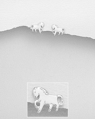 Sterling Silver Horse Push-Back Earrings