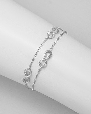 Sterling Silver Infinity Bracelet Decorated With CZ