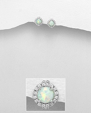 Sterling Silver Push-Back Earrings Decorated With CZ & Lab-Created Opal