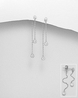 Sterling Silver Jacket Earrings Decorated With CZ