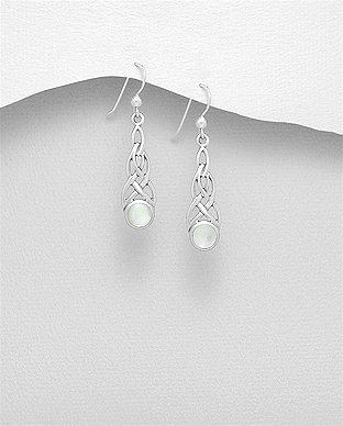 Sterling Silver Celtic Hook Earrings Decorated With Shell