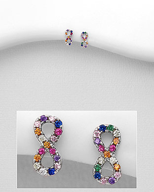 Sterling Silver Infinity Earrings Decorated with Colorful CZ