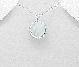 Sterling Silver Pendant Decorated With CZ and Shell