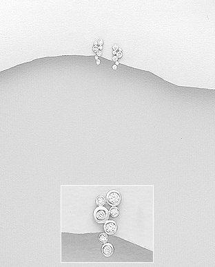 Sterling Silver Bunch of CZ Push-Back Earrings