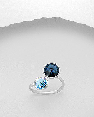Sterling Silver Ring Decorated With Authentic Swarovski Crystals