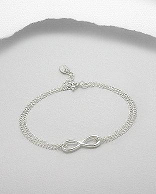 "Sterling Silver Infinity ""Peace"" Bracelet"