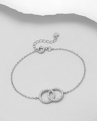 Sterling Silver Circle Links Bracelet Decorated with CZ