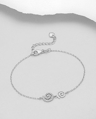 Sterling Silver Bracelet Featuring Coil Decorated With CZ