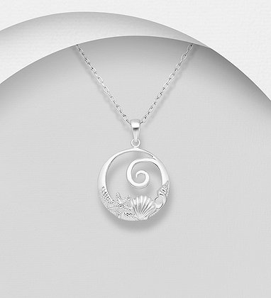 Sterling Silver Shell, Starfish and Wave Pendant