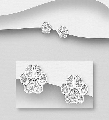 Sterling Silver Paw Push-Back Earrings, Decorated CZ Simulated Diamonds