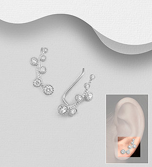 Sterling Silver Ear Pins Decorated with CZ Simulated Diamonds