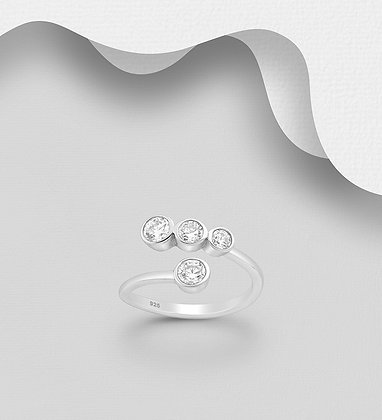 Sterling Silver Ring Decorated with CZ Simulated Diamonds, Plated with Pure Sil