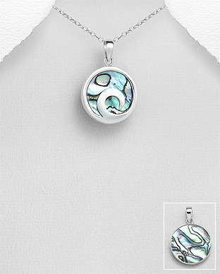 Sterling Silver Wave Pendant necklace Decorated With Shell