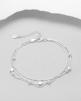 Sterling Silver Bracelet with Ball & Star Beads