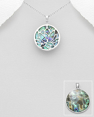 Sterling Silver Pendant Featuring Lotus Decorated With Shell