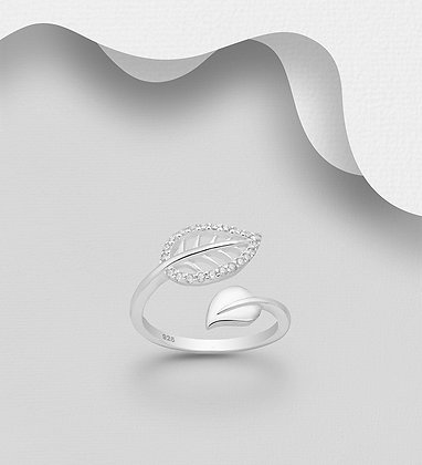 Sterling Silver Leaf Ring Decorated with CZ Simulated Diamonds, Plated with Pure