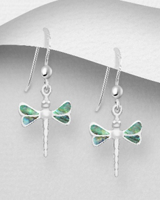 Sterling Silver Dragonfly Dangle Hook Earrings Decorated with Shell