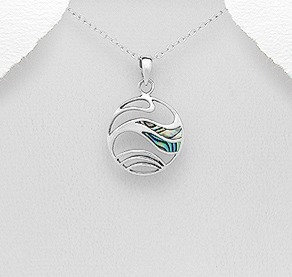 Sterling Silver Wave Pendant Decorated With Shell